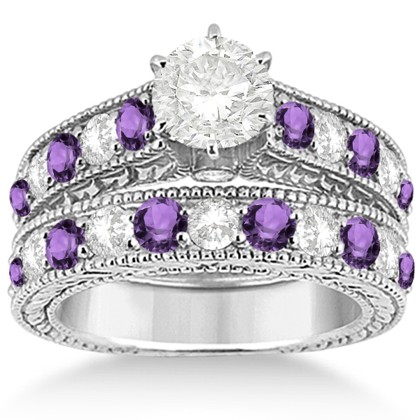 Beau Antique Diamond U0026 Amethyst Wedding U0026 Engagement Ring Set Platinum ...