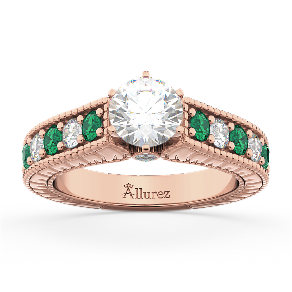 3936faae4eb0d Vintage Diamond & Emerald Engagement Ring 14k Rose Gold (1.23ct)