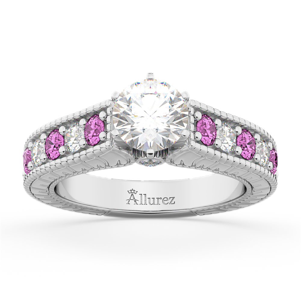 Allurez Vintage Diamond and Pink Sapphire Engagement Ring...