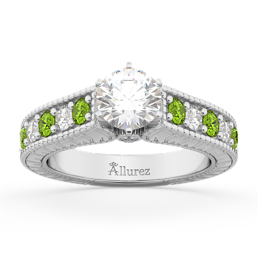 Vintage Diamond & Peridot Engagement Ring Setting in Platinum (1.35ct)