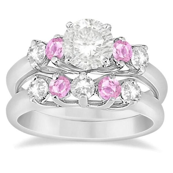 Allurez Five Stone Diamond and Pink Sapphire Bridal Ring ...