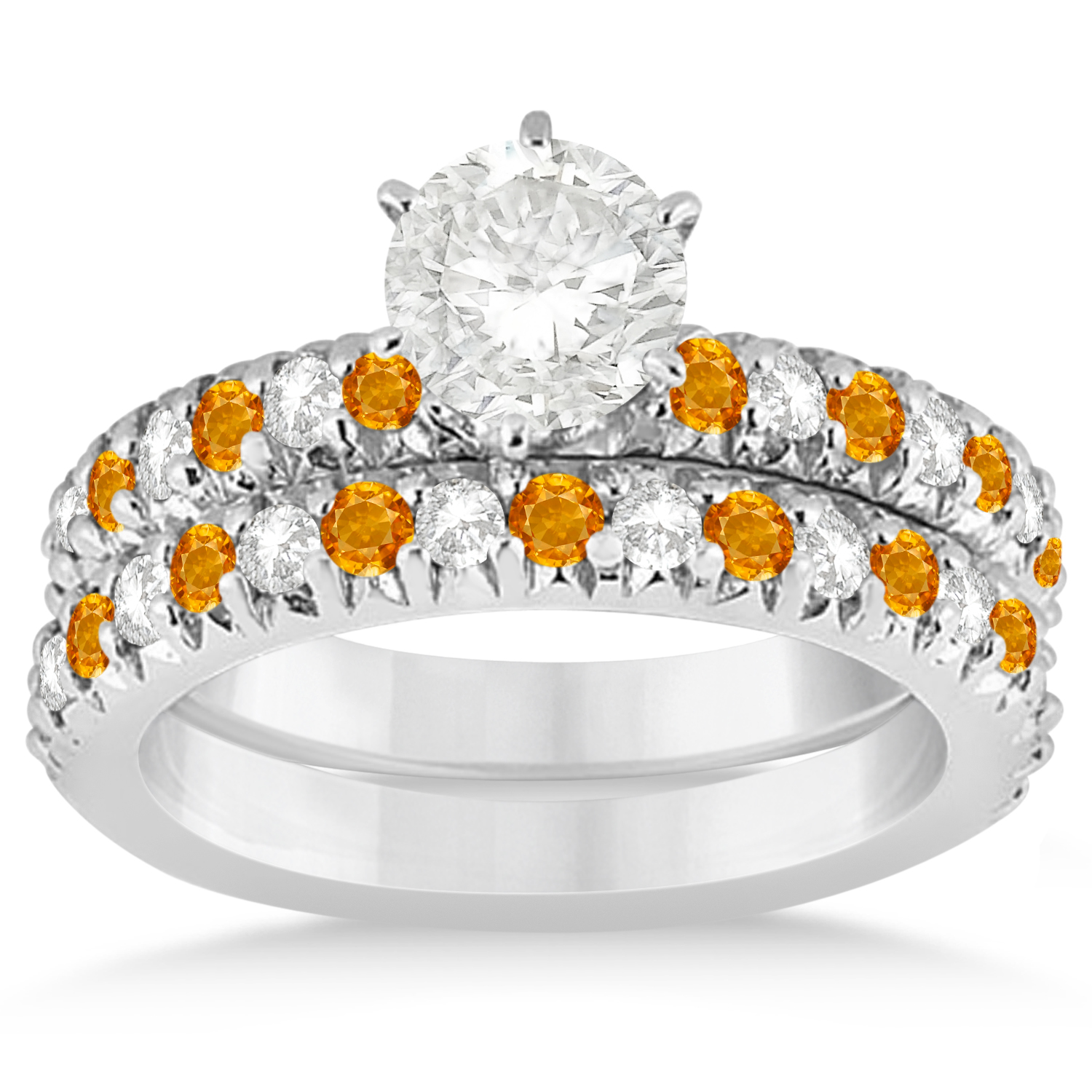 Citrine and Diamond Accented Bridal Set 14k White Gold 1.14ct