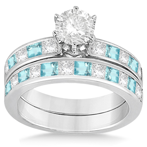 Channel Aquamarine & Diamond Bridal Set 14k White Gold (1.30ct)