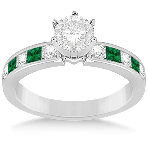 Allurez Channel Emerald and Diamond Engagement Ring 14k W...