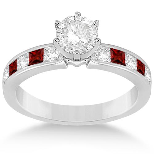 Channel Garnet & Diamond Engagement Ring 14k White Gold (0.60ct)