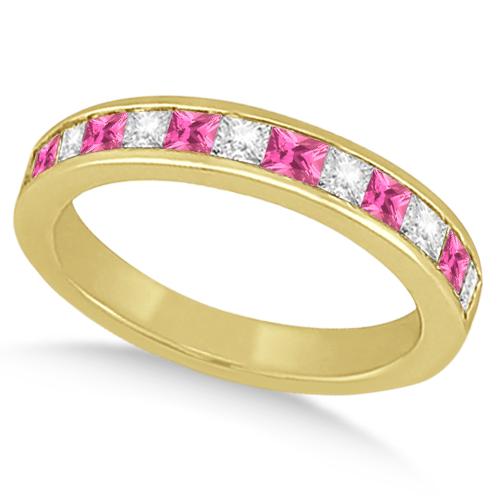 Allurez Channel Pink Sapphire and Diamond Wedding Ring 18...