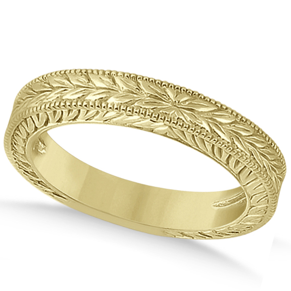 two gold wedding ring palm design yellow rings set in leaf band