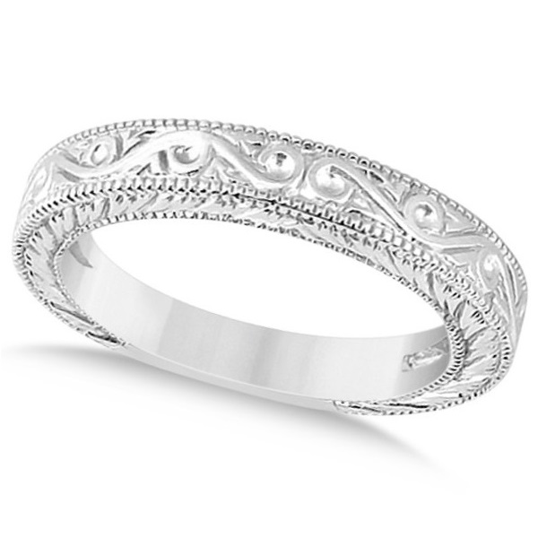 Womenu0027s Unique Filigree Wedding Band W/ Milgrain Edge 18k White Gold