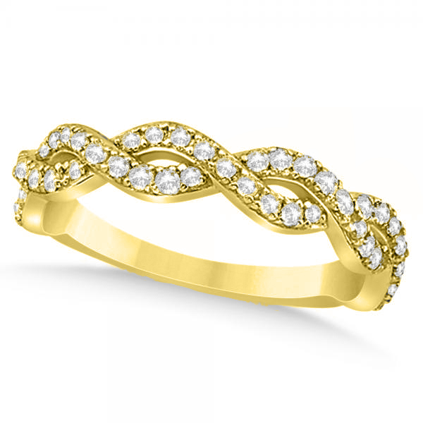Diamond Twisted Infinity Ring Wedding Band 14k Yellow Gold 055ct