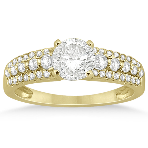 Three-Row Prong-Set Diamond Engagement Ring 14k Yellow Gold (0.37ct)