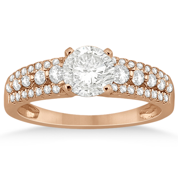 Three-Row Prong-Set Diamond Engagement Ring 18k Rose Gold (0.37ct)