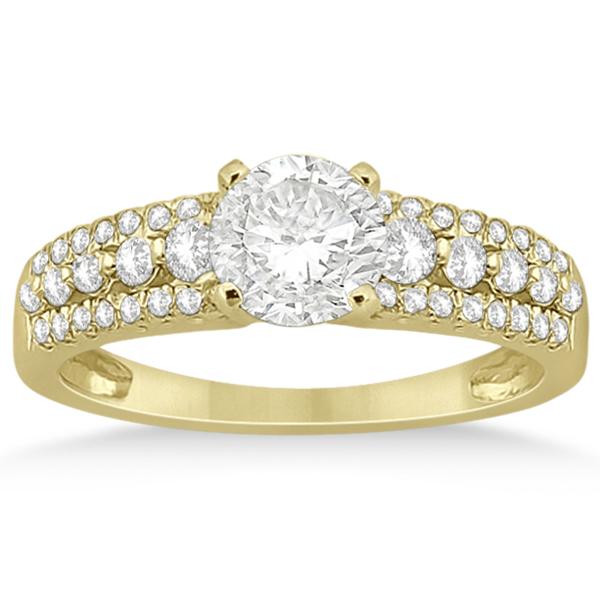 Three-Row Prong-Set Diamond Engagement Ring 18k Yellow Gold (0.37ct)