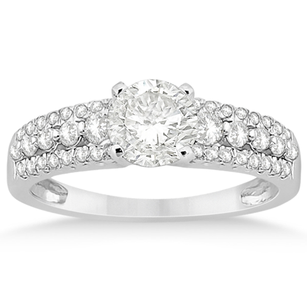 Three-Row Prong-Set Diamond Engagement Ring Palladium (0.37ct)