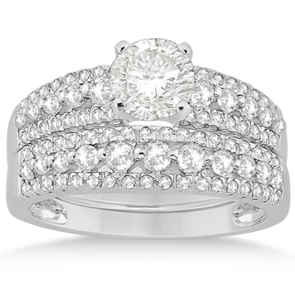 Three-Row Prong-Set Diamond Bridal Set in 18k White Gold (0.80ct)
