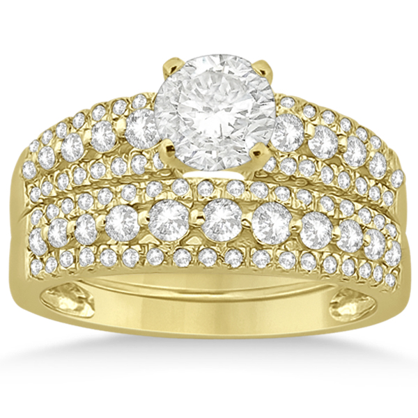 Three-Row Prong-Set Diamond Bridal Set in 18k Yellow Gold (0.80ct)