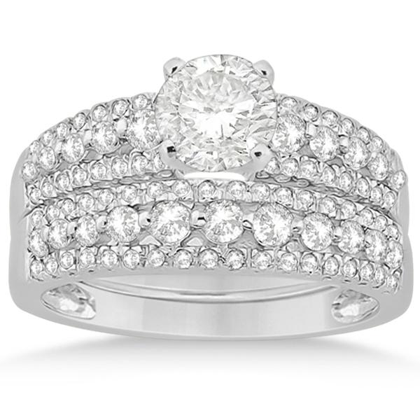 Three-Row Prong-Set Diamond Bridal Set in Platinum (0.80ct)