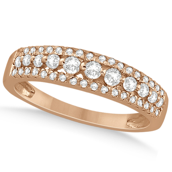 Three-Row Prong-Set Diamond Wedding Band in 18k Rose Gold (0.43ct)