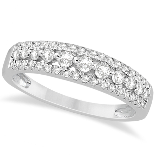Three-Row Prong-Set Diamond Wedding Band in Palladium (0.43ct)