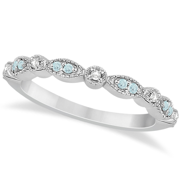 Allurez Marquise and Dot Aquamarine Diamond Wedding Band ...