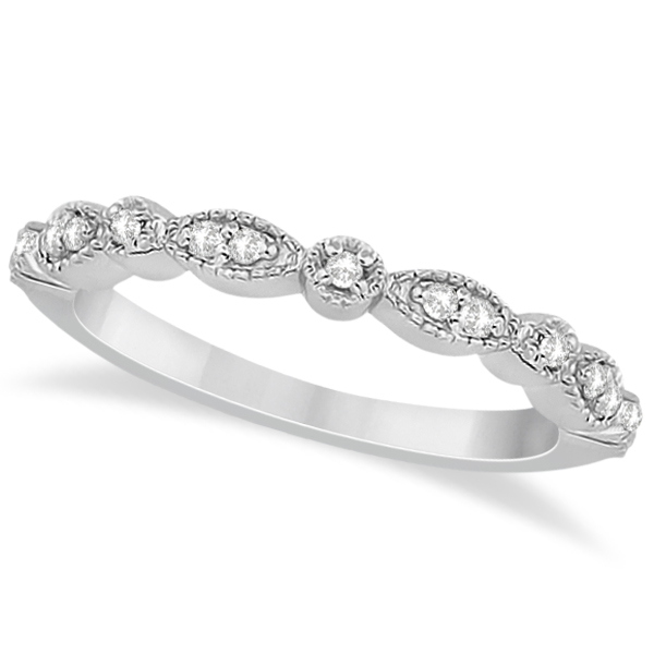 Pee Marquise Dot Diamond Wedding Band In 14k White Gold