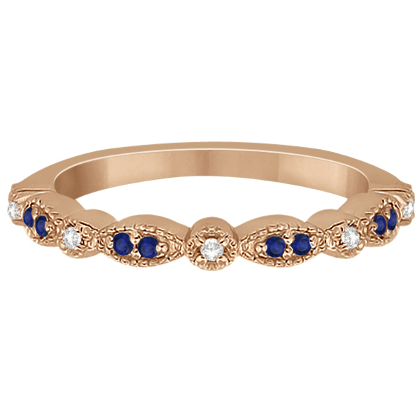 Blue Sapphire & Diamond Marquise Ring Band 14k Rose Gold (0.25ct)