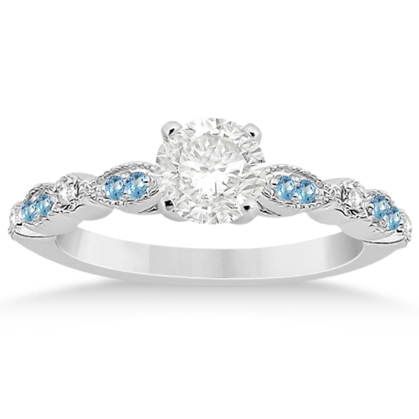 Marquise Dot Blue Topaz Diamond Engagement Ring 18k White Gold 024