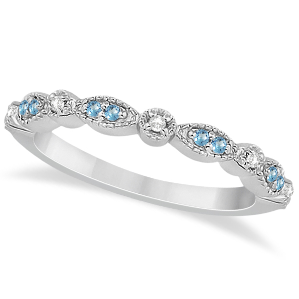 Marquise Dot Blue Topaz Diamond Wedding Band 14k White Gold 25ct