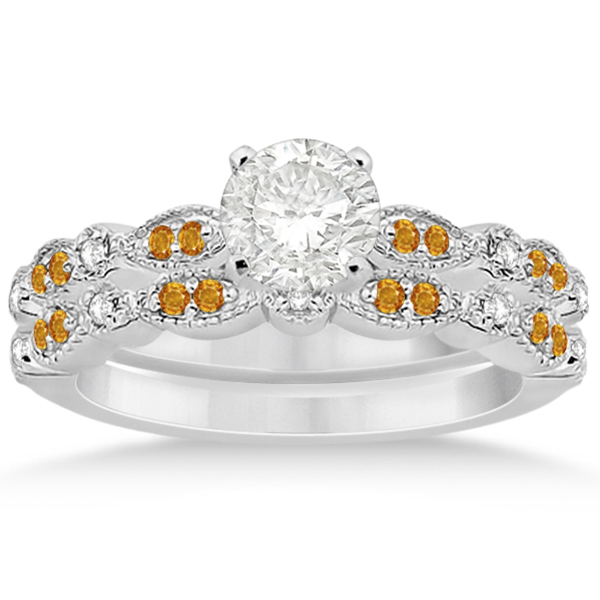 Marquise and Dot Citrine and Diamond Bridal Set 14k White Gold (0.49ct)