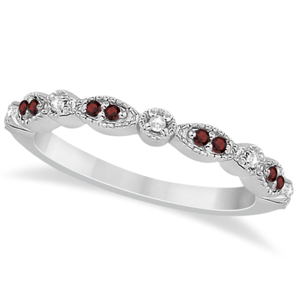 Allurez Marquise and Dot Garnet and Diamond Wedding Band ...