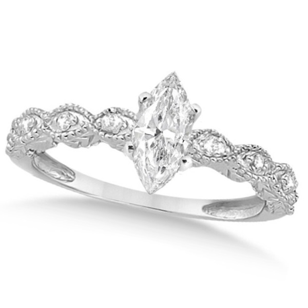 Marquise Antique Diamond Engagement Ring in 14k White Gold (1.00ct)