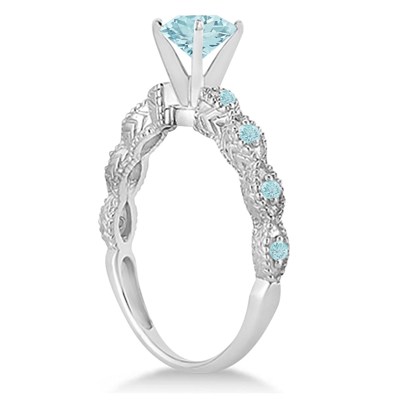 Vintage Aquamarine Engagement Ring Bridal Set 14k White Gold (1.36ct)