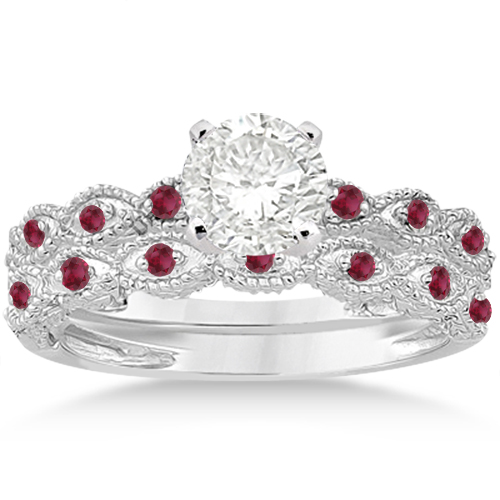 Allurez Antique Ruby Engagement Ring and Wedding Ring 14k...