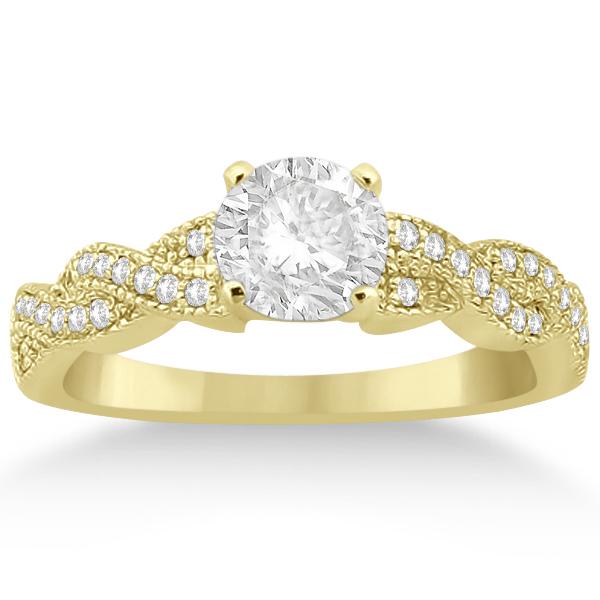 Infinity Style Bridal Set w/ Diamond Accents 14k Yellow Gold (0.55ct)