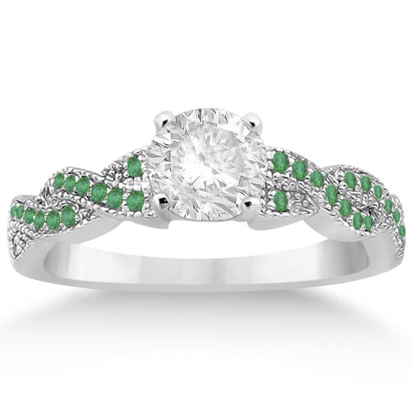 Infinity Style Twisted Emerald Bridal Set Setting 14k W Gold (0.55ct)