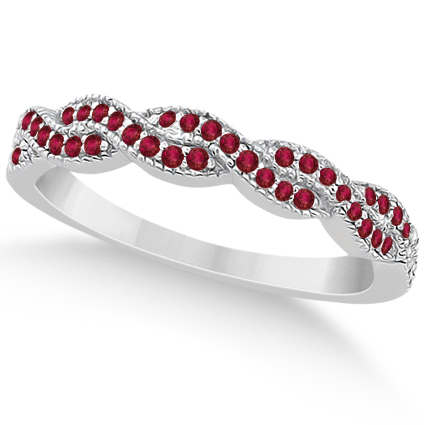Ruby Infinity Style Semi Eternity Wedding Band in Platinum (0.30ct)