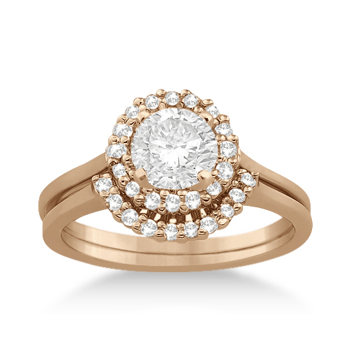 Allurez Petite Halo Engagement Ring and Wedding Band 14k Rose Gold (0.32ct) at Sears.com