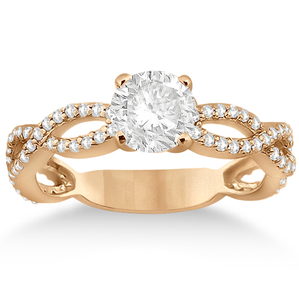 Pave Diamond Infinity Eternity Engagement Ring 18k Rose Gold (0.40ct)