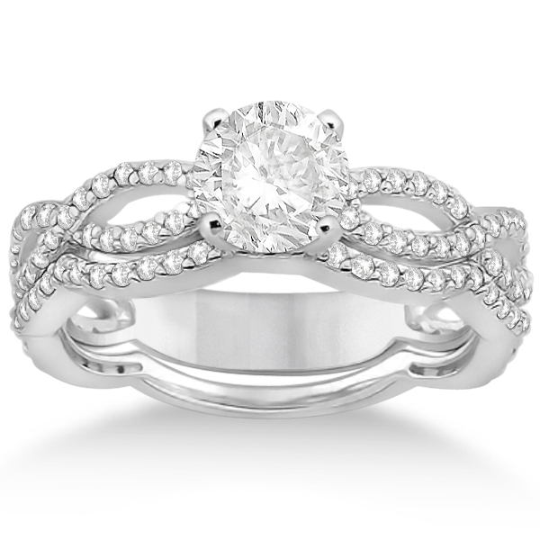 Allurez Infinity Diamond Engagement Ring with Band 14k Wh...