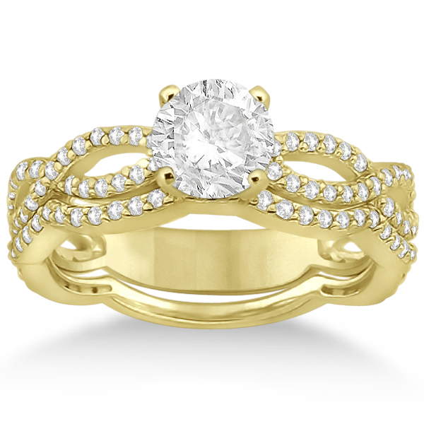 Allurez Infinity Diamond Engagement Ring with Band 14k Ye...