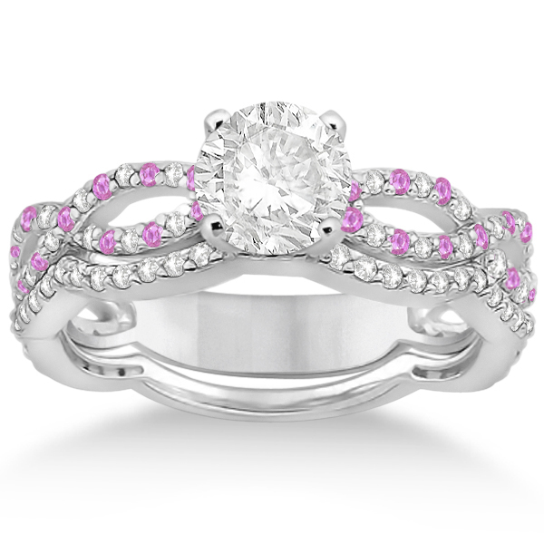Allurez Infinity Diamond and Pink Sapphire Engagement Rin...