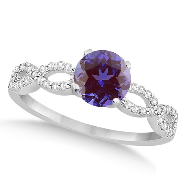 Diamond & Alexandrite Infinity Engagement Ring 14K White Gold 1.45ct
