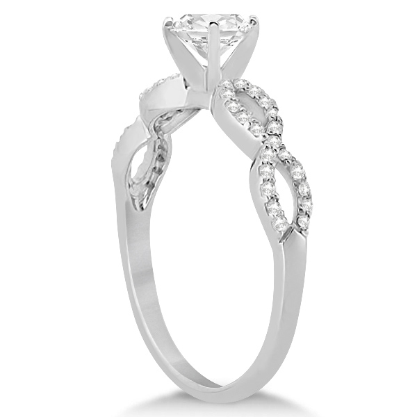 Twisted Infinity Round Diamond Engagement Ring 14k White Gold 1 00ct