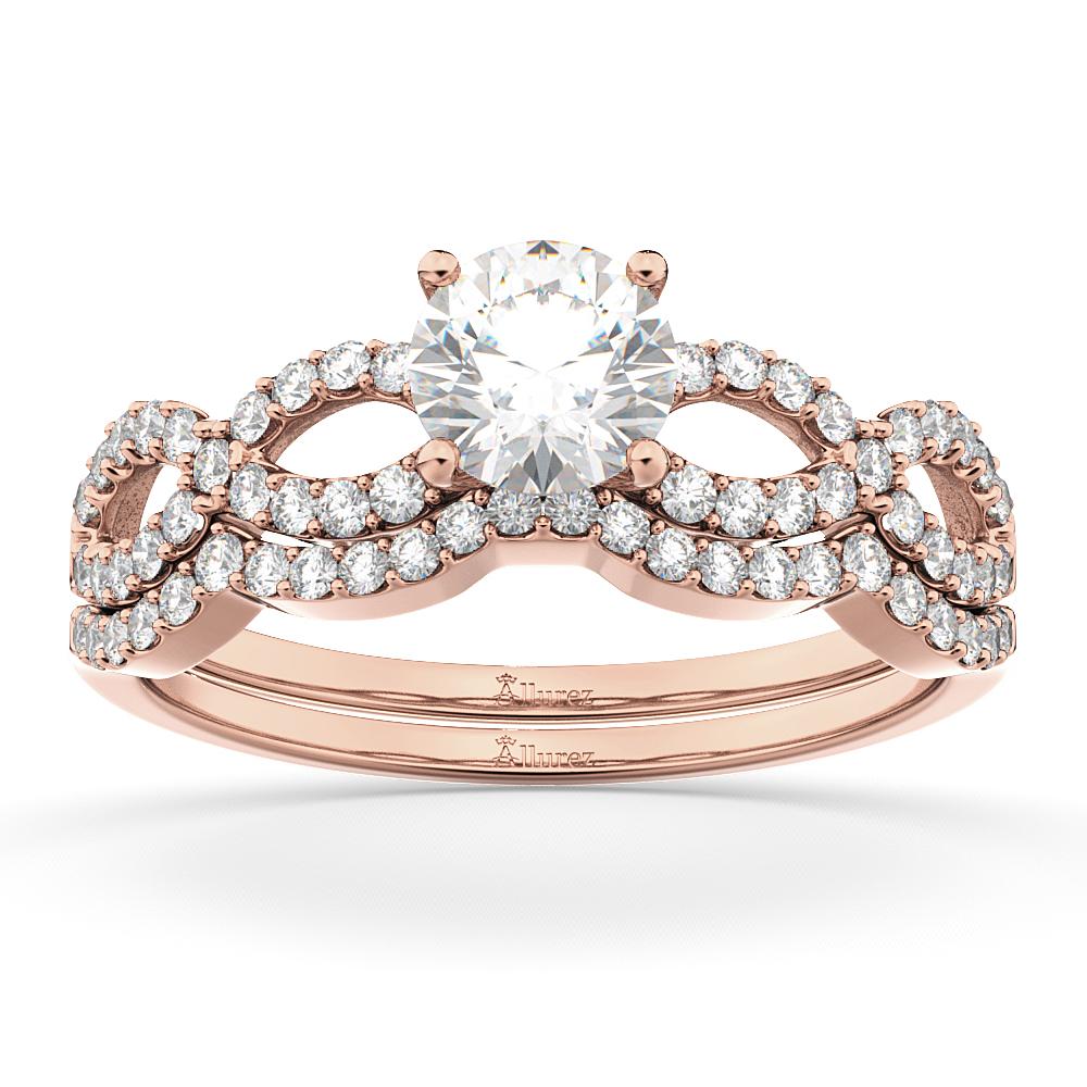 Allurez Infinity Twisted Diamond Matching Bridal Set in 1...