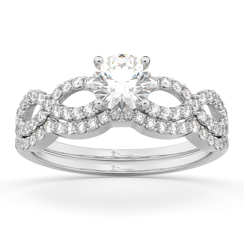 Allurez Infinity Twisted Diamond Matching Bridal Set 14K ...
