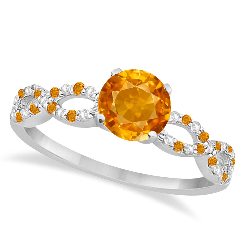 Infinity Diamond & Citrine Engagement Ring 14K White Gold 1.05ct