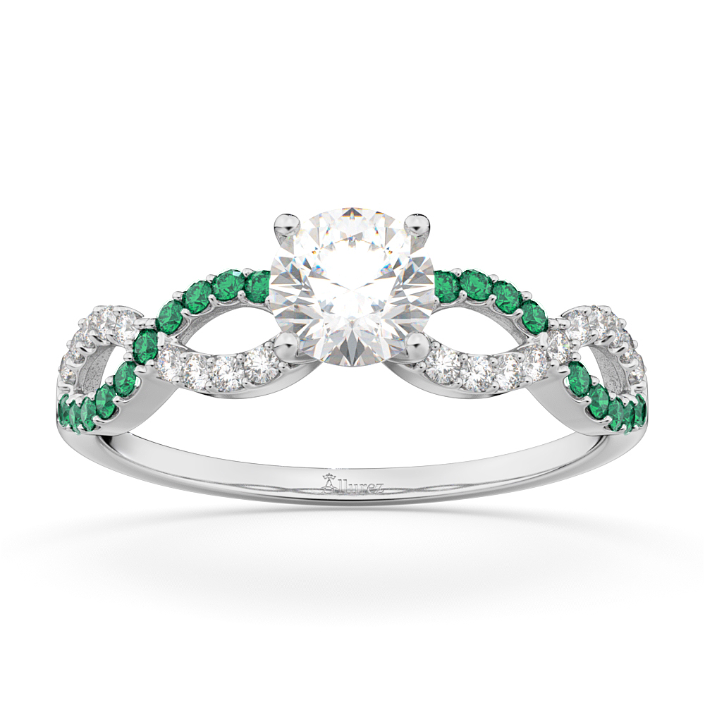 Allurez Infinity Diamond and Emerald Engagement Ring in 1...