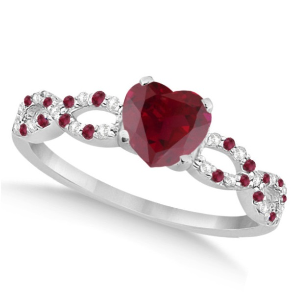 Allurez Diamond and Ruby Heart Infinity Engagement Ring 1...