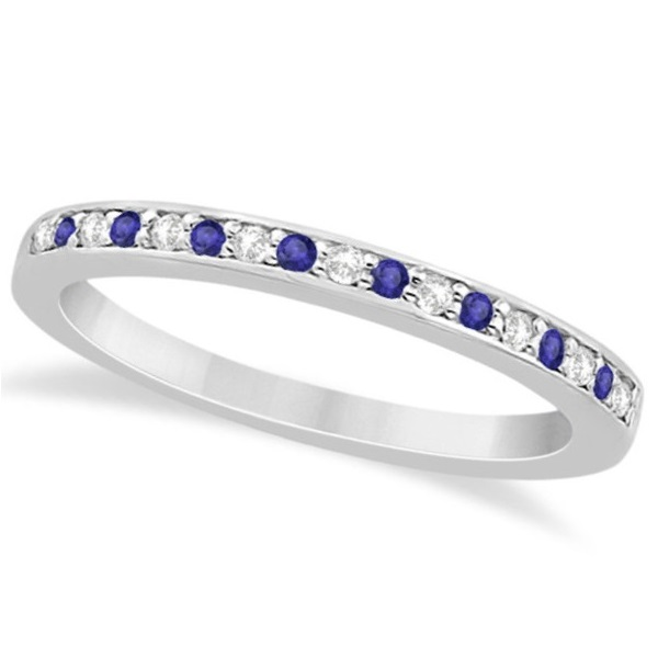 Tanzanite Diamond Wedding Band 14k White Gold 029ct Allurez