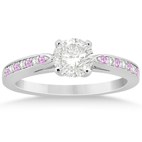 Allurez Cathedral Pink Sapphire Diamond Engagement Ring 1...