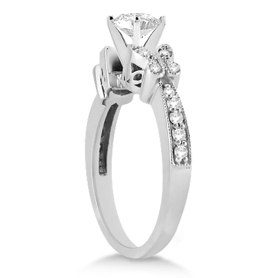 Princess-Cut Diamond Butterfly Engagement Ring 14k White Gold (0.50ct)
